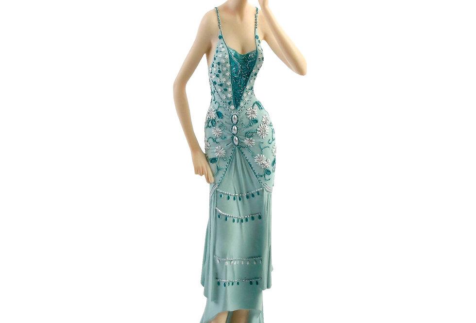Broadway Belles - Lady in Teal Dress Touching Ear