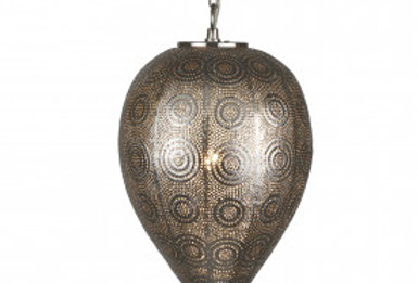 1 Light Moroccan Tapered Pendant, Shiny Nickel