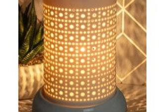 WHITE CERAMIC LAMP, DOTS & SQUARES