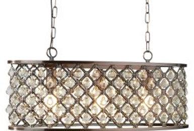 Antique Copper, 3 Light Oval Bar, Glass Tear Drop Inserts, Adjustable