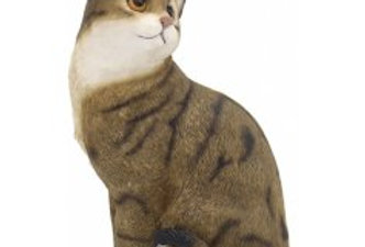 Sitting Brown Tabby Cat Figure