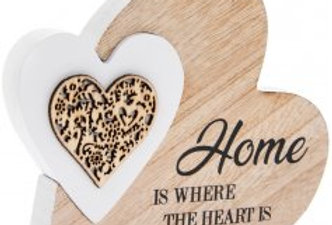 Sentiments Double Heart Plaque - Home Is Where