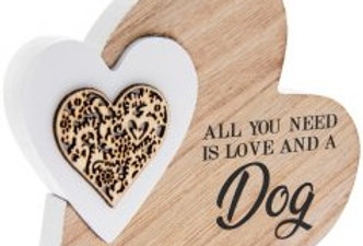 Love and a Dog' Natural Toned Side Heart Block