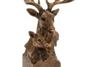 Reflections Bronzed Stag and Deer Bust