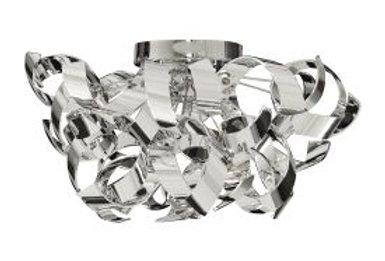 Curls Chrome Semi-flush/acrylic 3 Light Metal Fitting