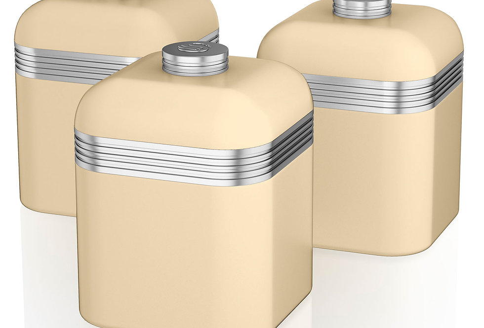 Swan retro set of 3 cream canisters