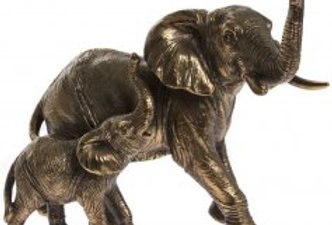 Reflections Bronzed Elephant & Calf