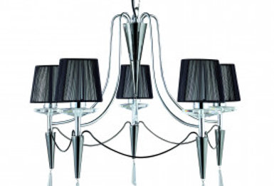 Duchess Chrome 5 Light Fitting With Black String Shades & Crystal Sconces