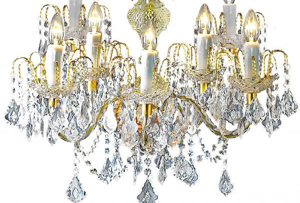 9 Light Clear Crystal Effect Gold Chandelier