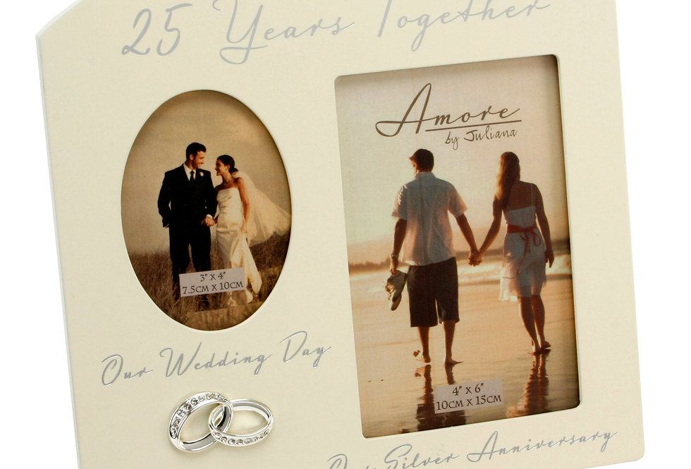 AMORE BY JULIANA® Double Anniversary Frame - 25 Years