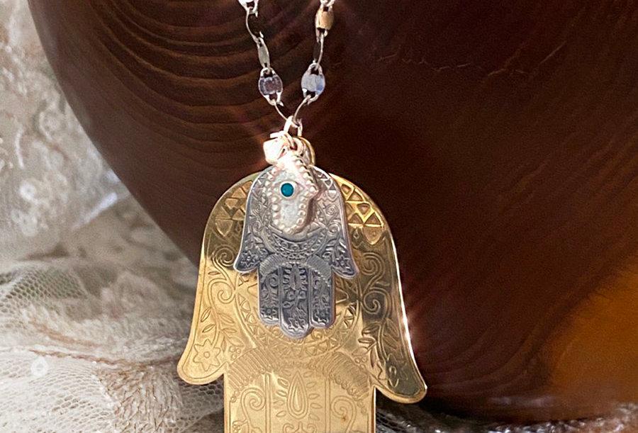 Long Triple Hamsa Necklace