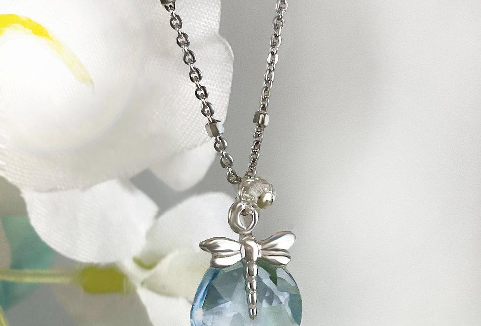 Blue Topaz - Tiny Dragonfly Heart Drop Necklace - Beaded