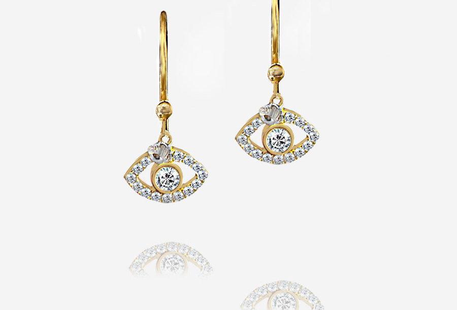 Crystal Protection Eye Earrings