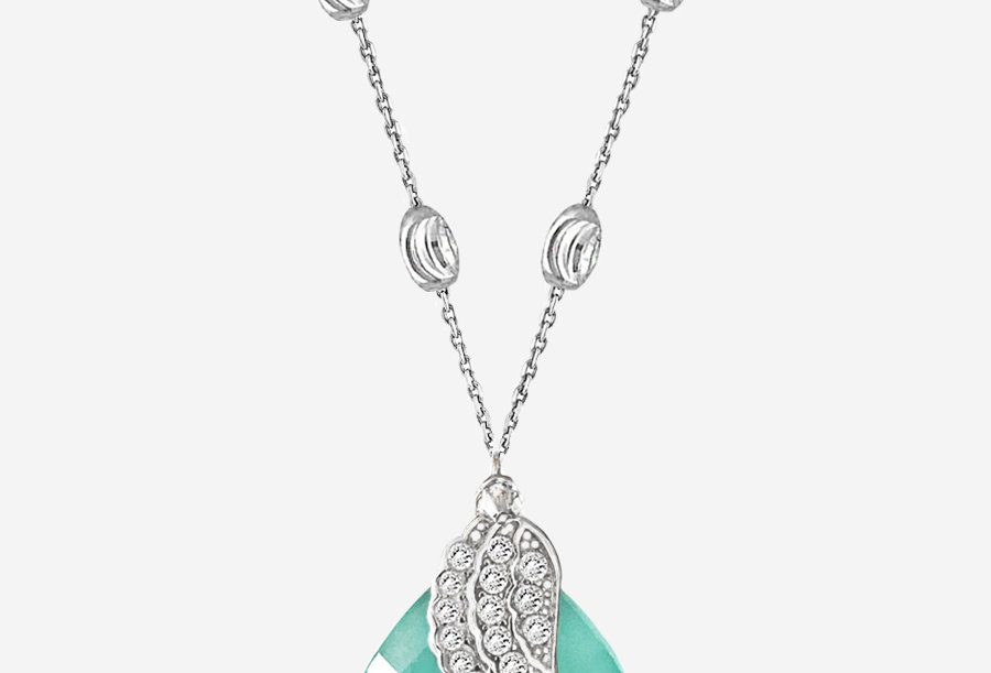 Chalcedony Angel Wing Necklace