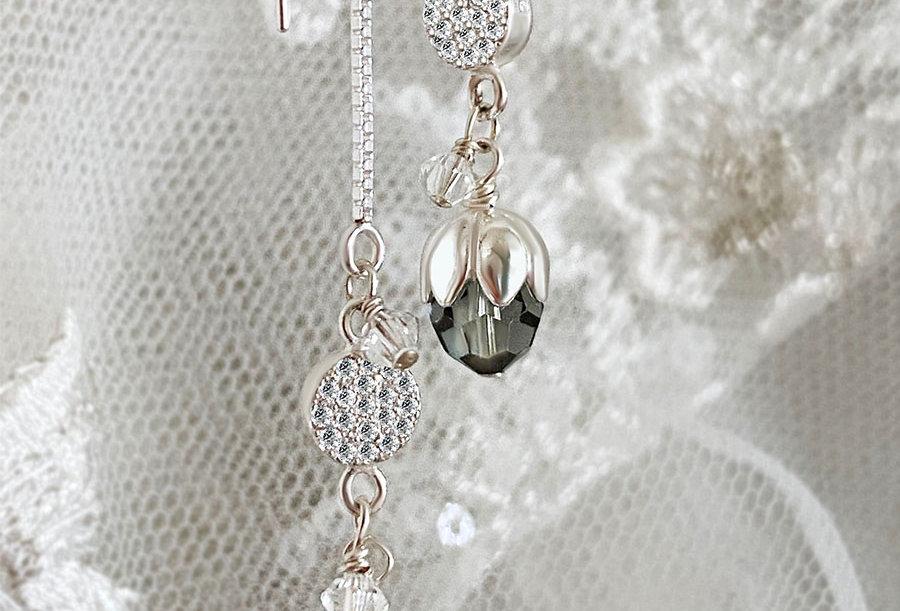 Tulip Swarovski Crystal Threader Earrings