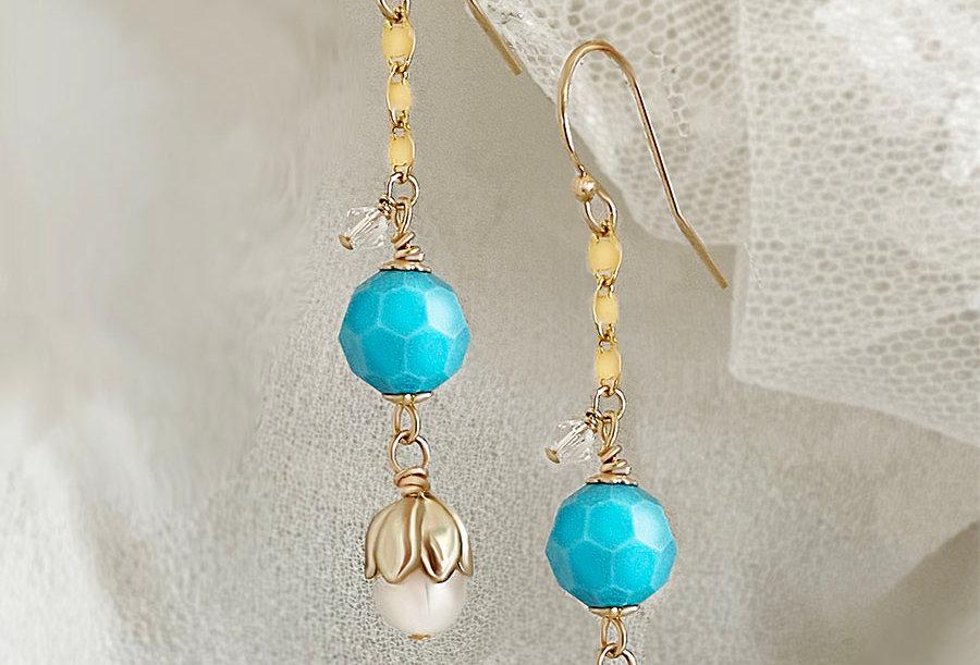 Turquoise Tulip Pearl Earrings