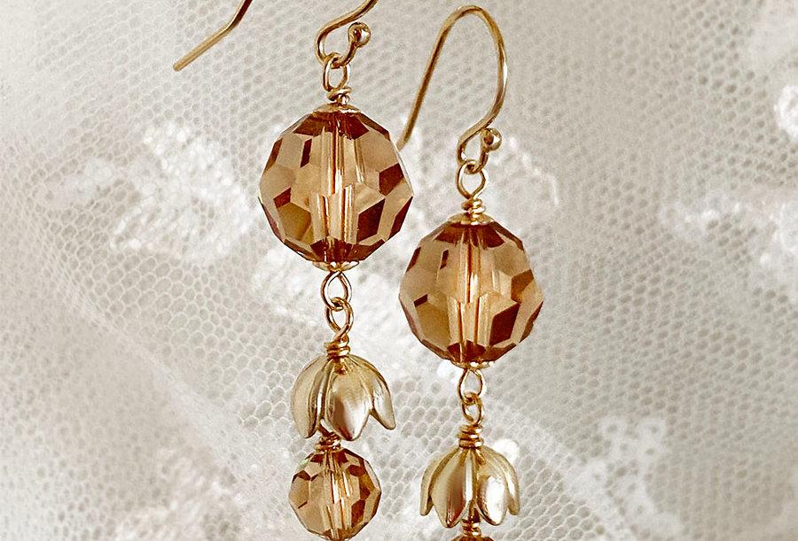 Tulip Double Drop - Swarovski Crystal Earrings