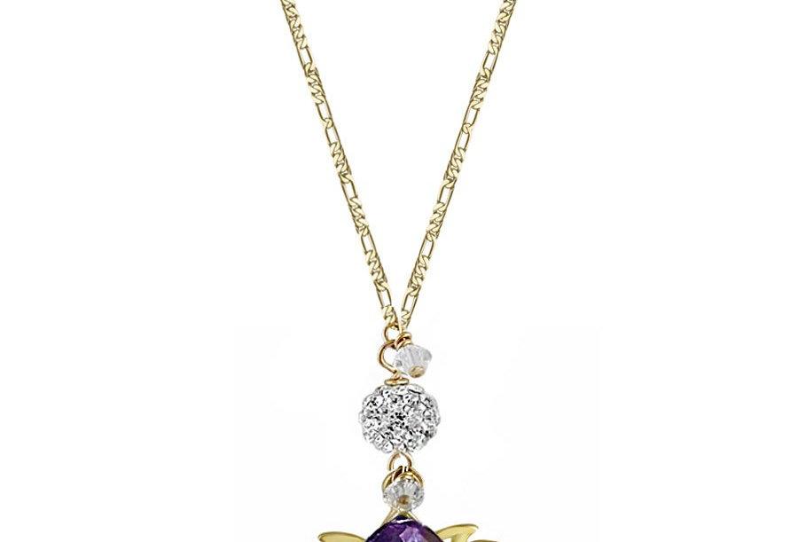 Amethyst - Golden Lotus Wish Necklace