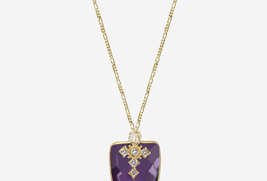 Amethyst - Cross Necklace - Arrowhead