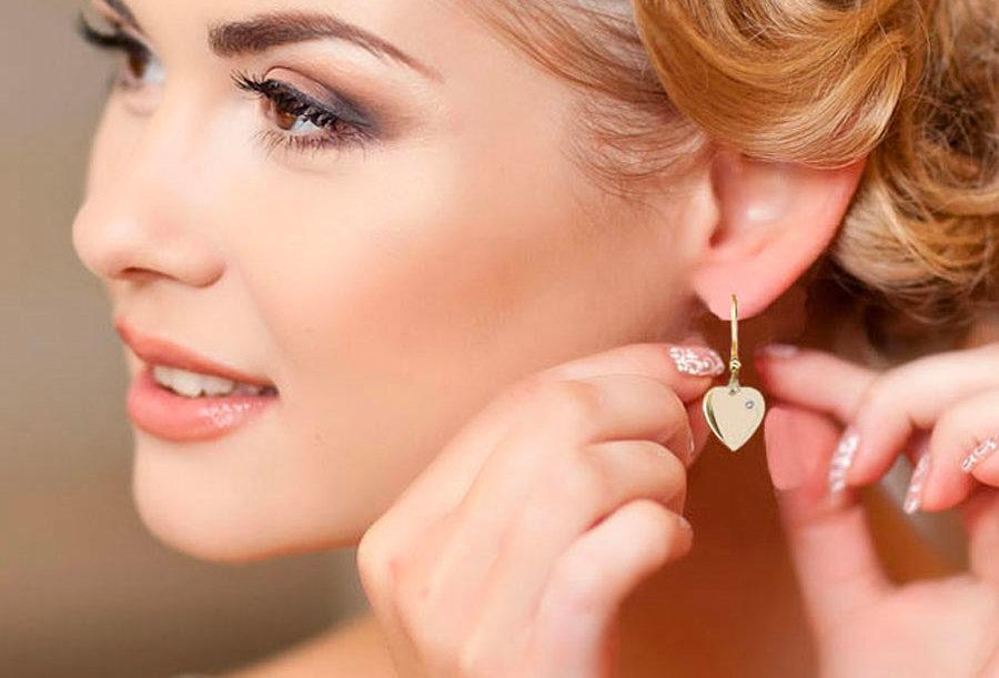 One Crystal Heart Earrings