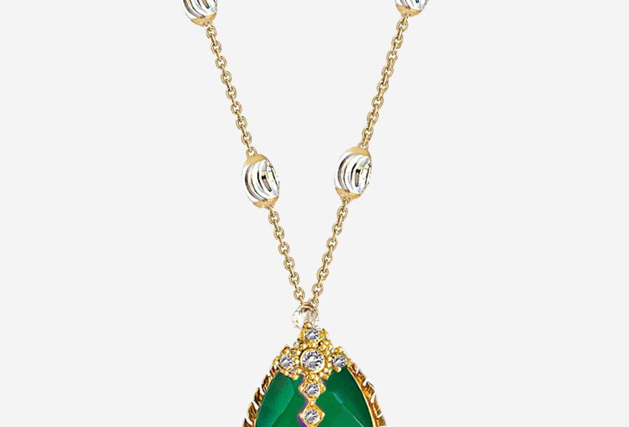 Green Onyx Cross Necklace