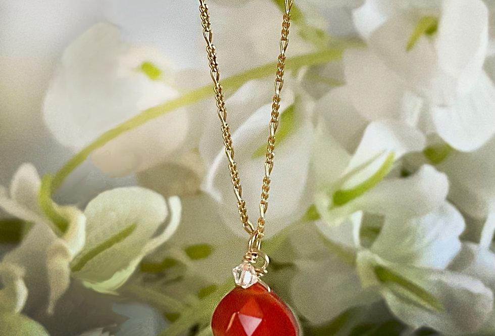 Minimalistic Orange Carnelian Droplet Necklace