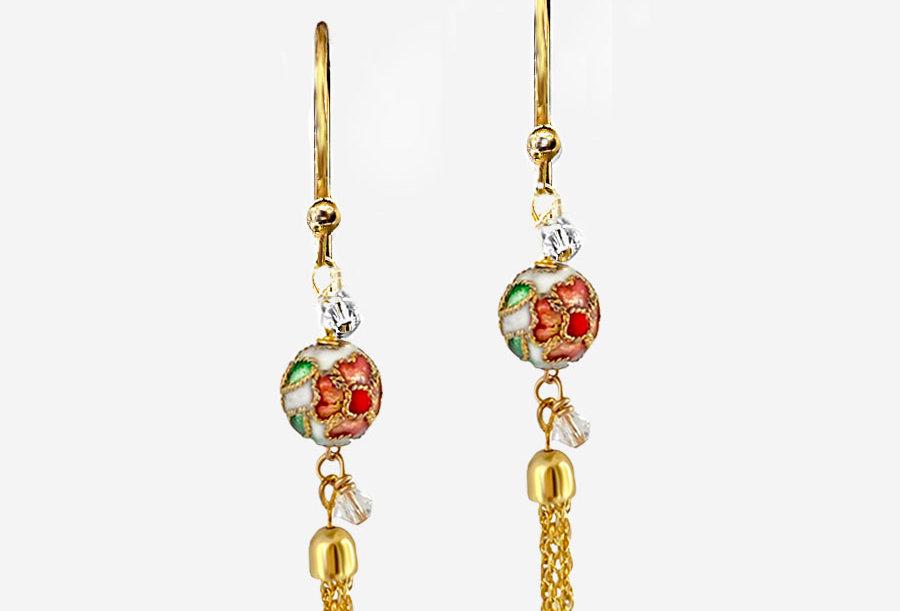 Cloisonne - White Tassel Earrings