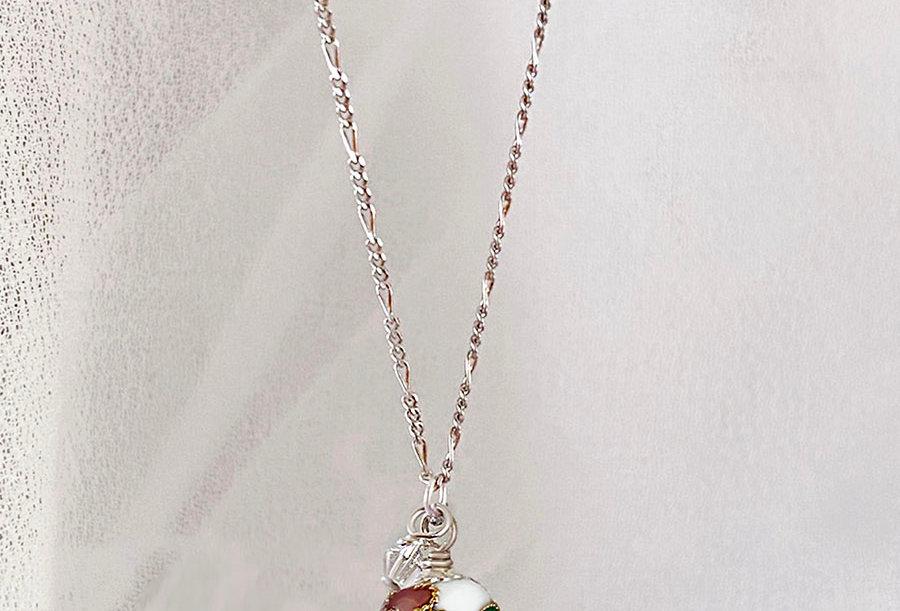 White Cloisonne Necklace