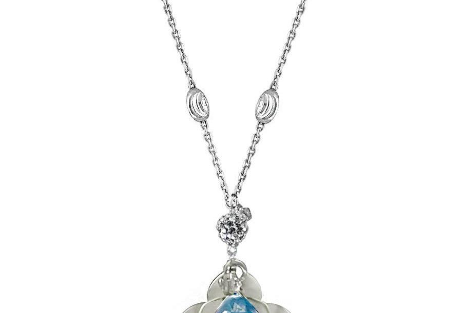 Sky Blue Topaz - Lotus Blossom Necklace