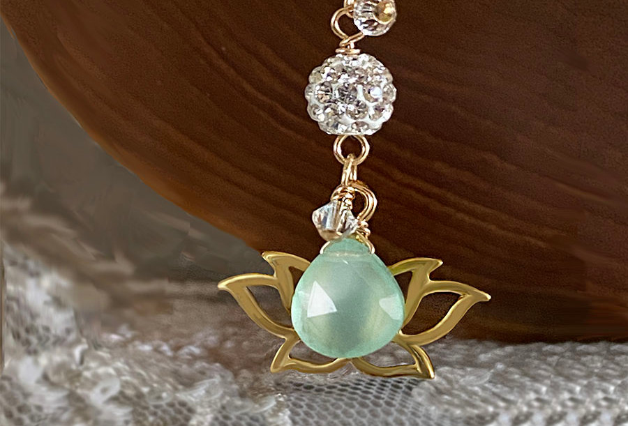 Chalcedony - Lotus Wish Necklace