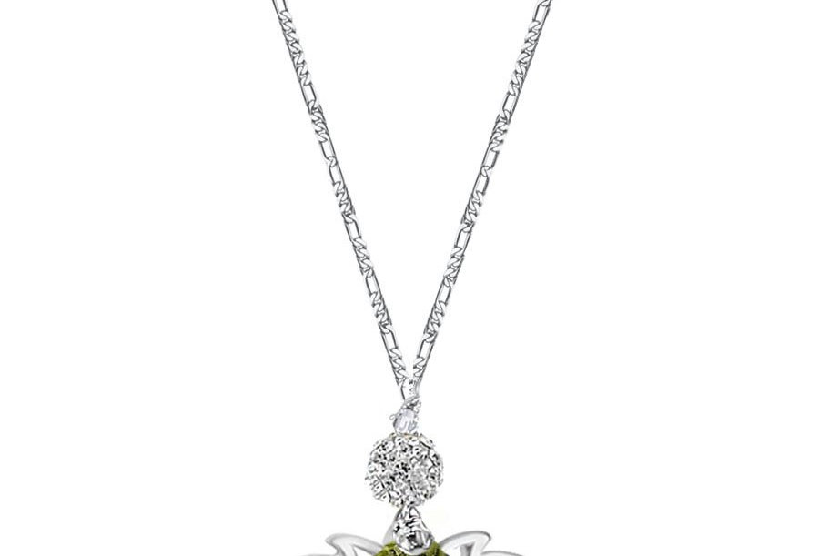 Peridot - Silver Lotus Wish Necklace