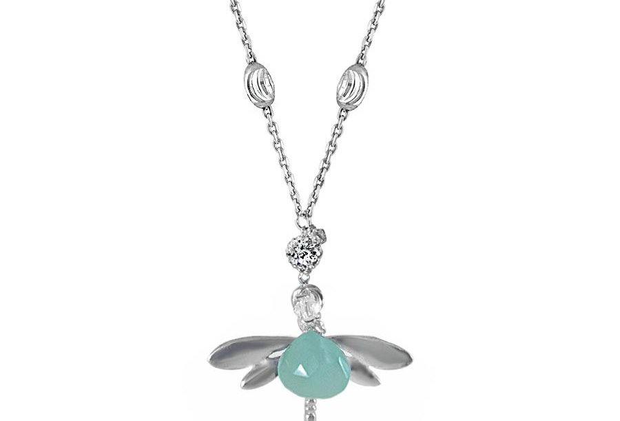 Chalcedony - New Beginnings Dragonfly Necklace