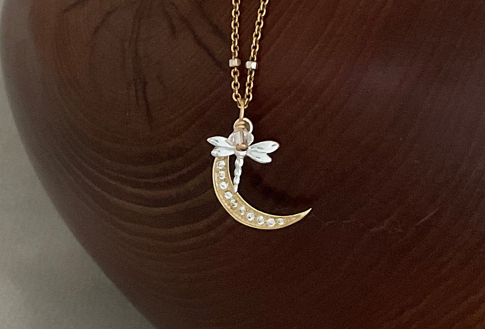New Dragonfly Moon Necklace