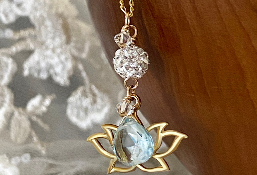 Blue Topaz - Lotus Wish Necklace