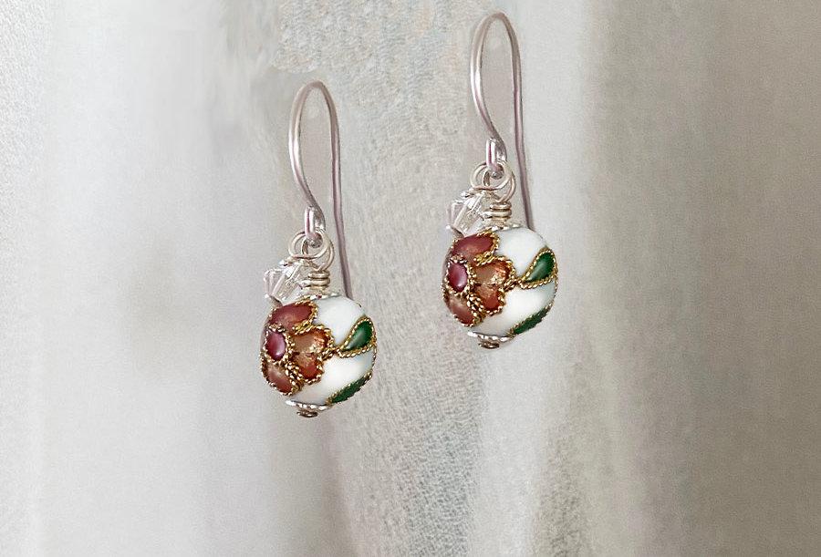 White Cloisonne Earrings