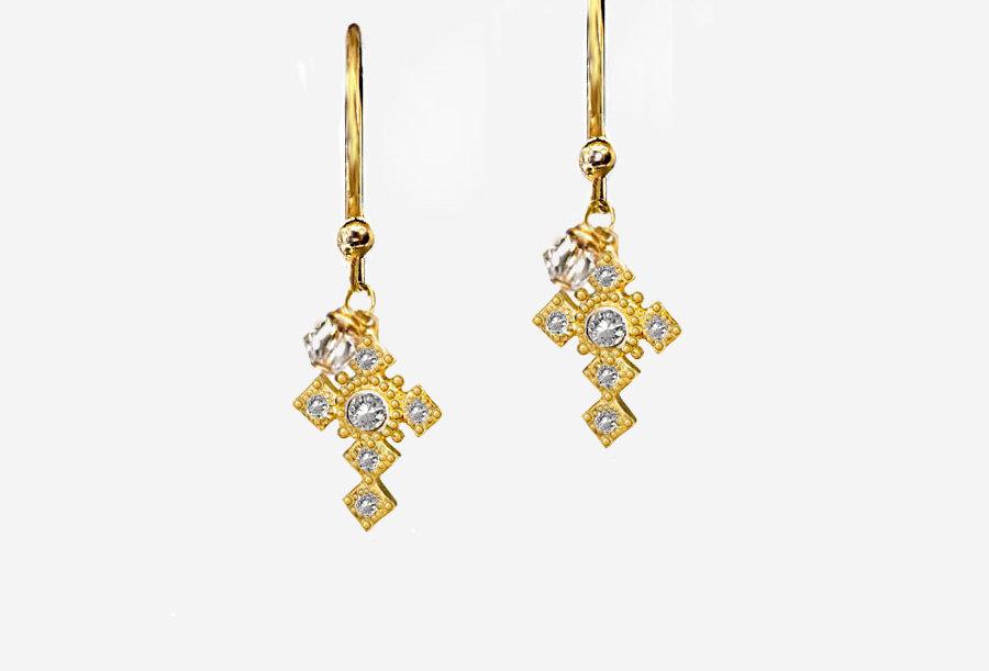 Tiny Cross Earrings
