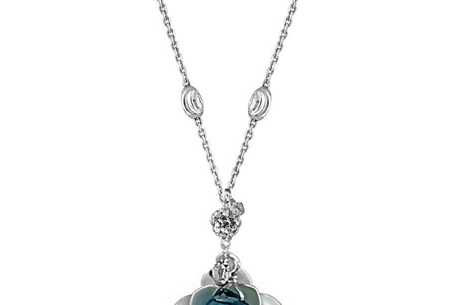 London Blue Topaz - Lotus Blossom Necklace