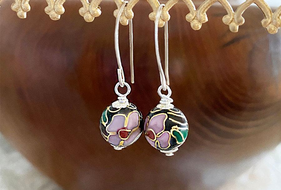 Floral Cloisonne Earrings