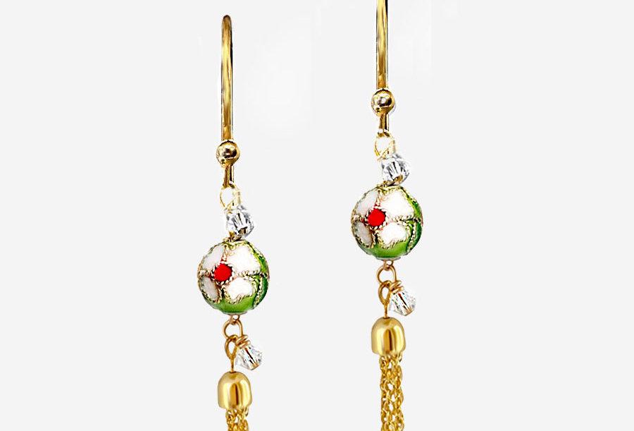 Cloisonne - Green Tassel Earrings