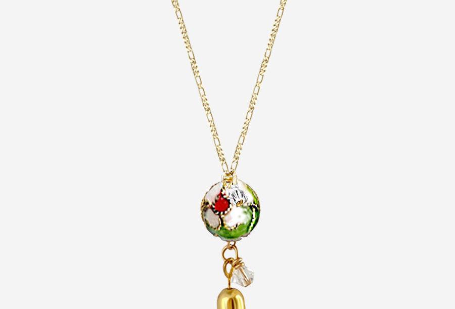 Cloisonne - Green Tassel Necklace