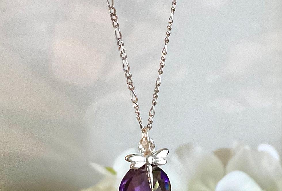Amethyst - Tiny dragonfly Heart Drop Necklace
