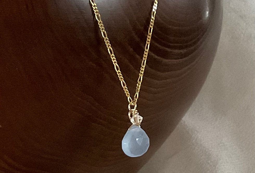 Minimalistic Light Blue Chalcedony Droplet Necklace
