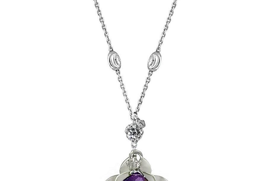 Amethyst - Lotus Blossom Necklace