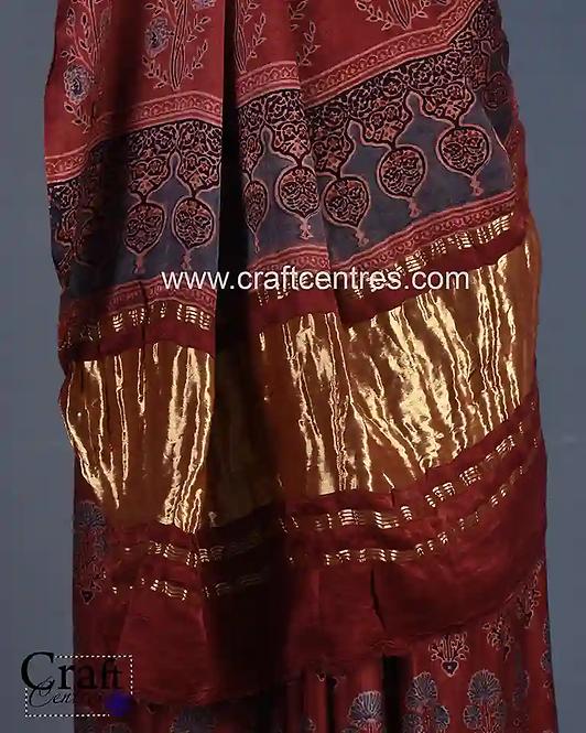 Ajrakh Hand Block print Sarees