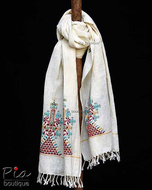 khadi organic cotton stole with soof embroidery