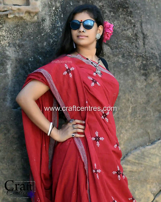 Soof Embroidery On Kala Cotton Bhujodi Saree