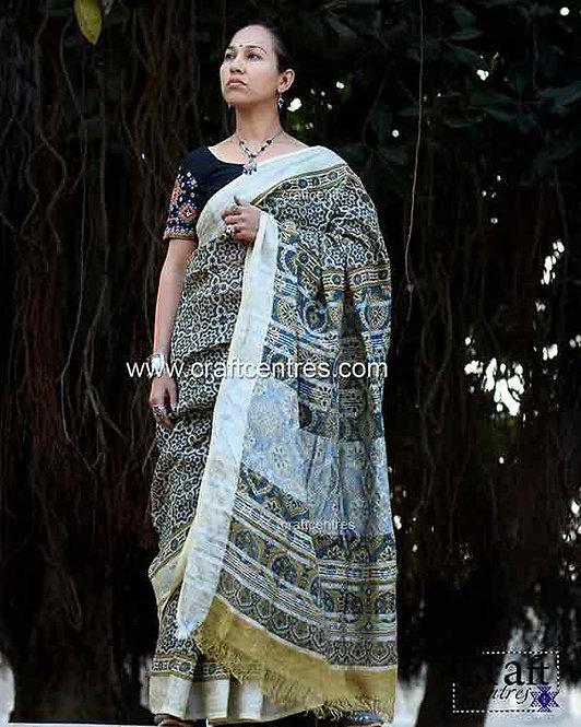 linen ajrakh hand block print saree