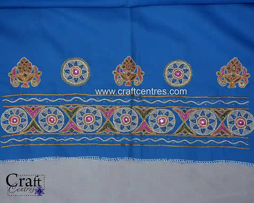 Embroidery Blouse Piece With Mirror Work