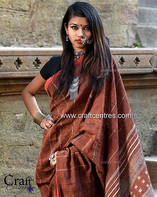 Tussar Silk Handloom Bhujodi Saree With Blouse