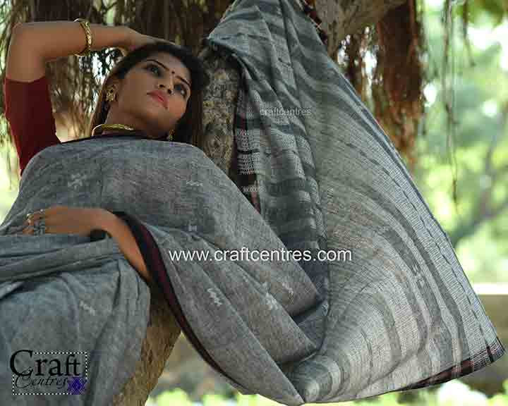eri silk with kala cotton handloom saree